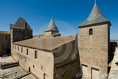 View of Ancient building in Carcassonne Chateau