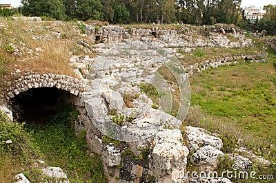 View of an ancient Roman amphitheatre
