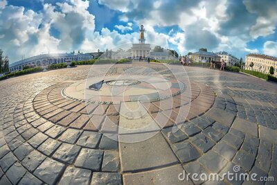 View of the ancient Russian city of the Golden ring Kostroma. Beautiful view of the ancient Russian city of the Golden ring Kostroma stock footage