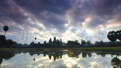 View of the Angkor Wat Buddhist complex in Cambodia. Andreev. View of the Angkor Wat Buddhist complex in Cambodia. TimeLapse. The temple is displayed on the stock video footage