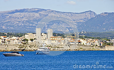 View of Antibes from the sea Editorial Image