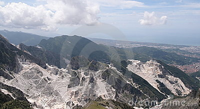 View of the Apuan Alps with white marble quarry
