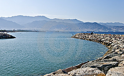 View on Aqaba city from a dam of Eilat