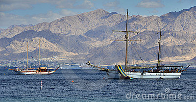 View on the Aqaba gulf (Red Sea) near Eilat