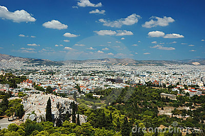 View of Athens roofs and Areipagus hill,Greece