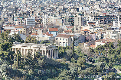 View of Athens with temple of Hephaistos in foregr