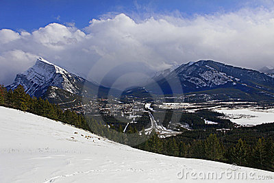 View on Banff with Mt Rundle  and goats