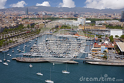View of Barcelona harbor