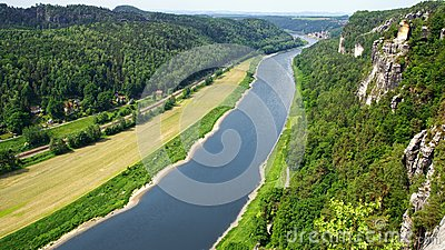 View from the Bastei on the river Elbe, Germany