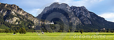 View of Bavarian Alps with Neuschwanstein Castle