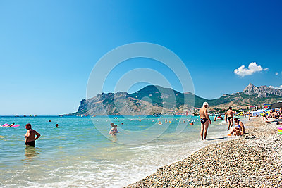 View of the beach in Koktebel, Crimea. Ukraine Editorial Stock Photo