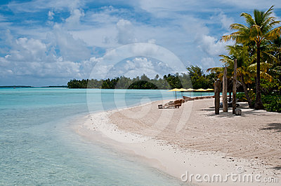 View on the beach within an lagoon in Bora Bora