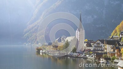 View of beautiful austrian mountains village Hallstatt stock video