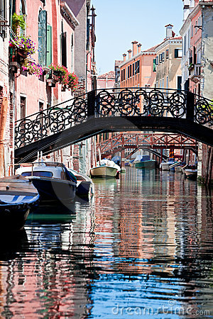 View of beautiful colored venice canal