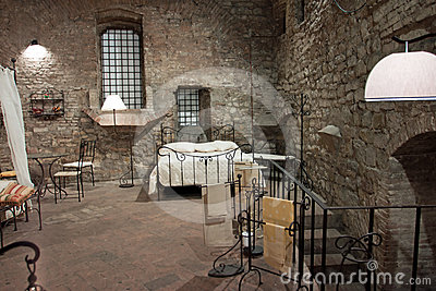 View of a bedroom medieval perugia stock photo - Interior design perugia ...