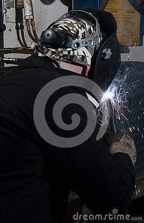 The view from behind the welder