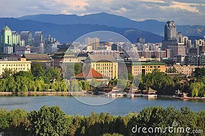 View of Beijing skyline,Beihai Park, Editorial Photography