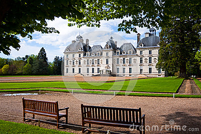 View with benches and Cheverny castle, France