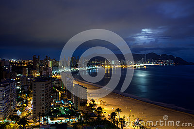 View of Benidorm at night, Spain