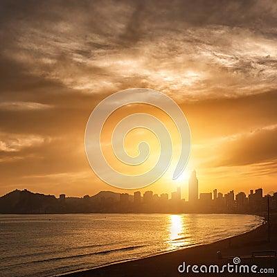 View of Benidorm on sunset, Spain
