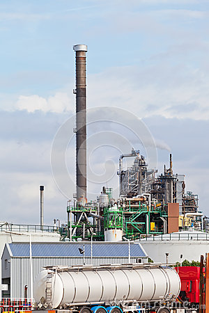 View of big oil refinery