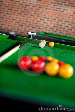 View of a billiard table