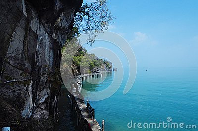 View of Blue Andaman sea from the caves of Malaysia