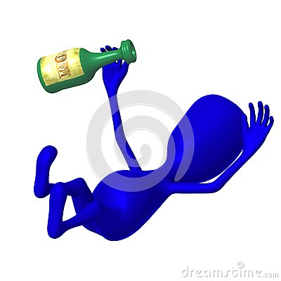 View blue puppy is drunk from rum