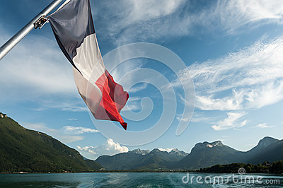 French Flag on the Annecy Lake