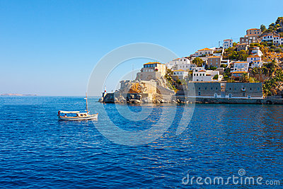 View of boat entering Hydras Island in Greece
