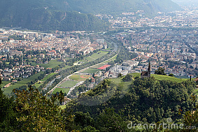 A view of Bolzano from the surrounding mountains