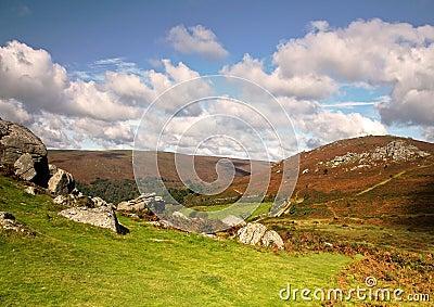 View from Bonehill Rocks to Bell Tor Dartmoor