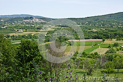 View of Bonnieux and the French Countryside