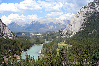 View of the Bow River and the Canadian Rockies