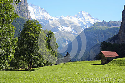 Lauterbrunnen valley with mountains Switzerland
