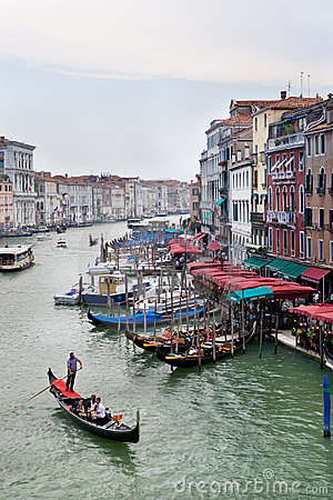 View from Bridge Ponte di Rialto on Grand Canal