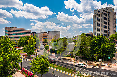 View of buildings and a divided street in Towson, MD Editorial Image
