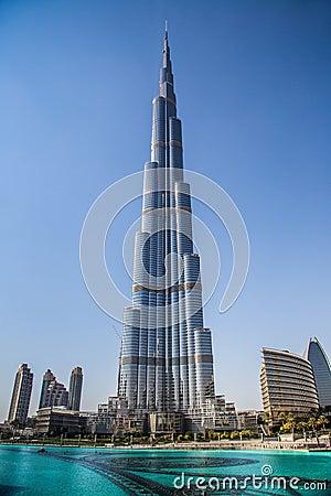 View on Burj Khalifa, Dubai, UAE, at night Editorial Stock Photo