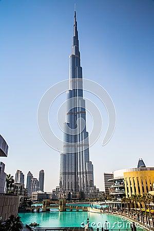 View on Burj Khalifa, Dubai, UAE, at night Editorial Image