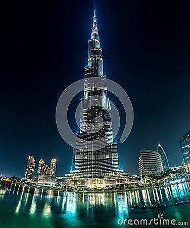View on Burj Khalifa, Dubai, UAE, at night Editorial Photo
