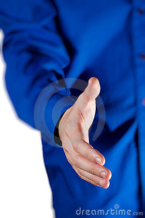 View of business man extending hand to shake