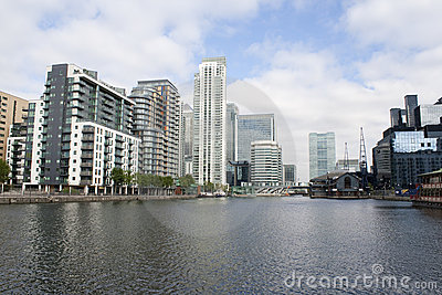 A view of Canary Wharf from the Isle of Dogs