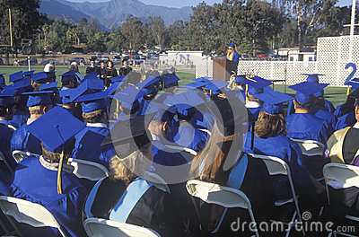 View of the caps and gowns of UCLA s Editorial Stock Image