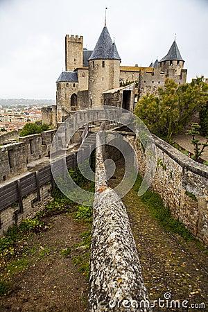 view of castle from hotel de la cite carcassonne france royalty free stock photos image. Black Bedroom Furniture Sets. Home Design Ideas