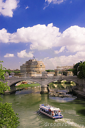 View of castle Saint Angel in Rome