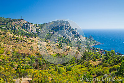 View on Cat Mountain and Blue Bay area, Black Sea shore