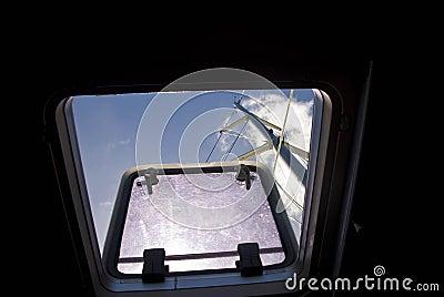 View through catamaran hatch