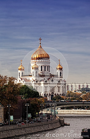 View of Cathedral of Christ Savior in Moscow