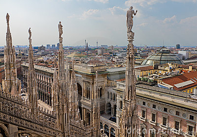 View from cathedral Milan, Italy