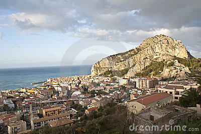 View of the Cefalù with sea and mountain. Sicily